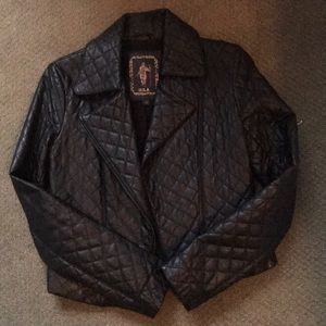Moto quilted genuine leather jacket